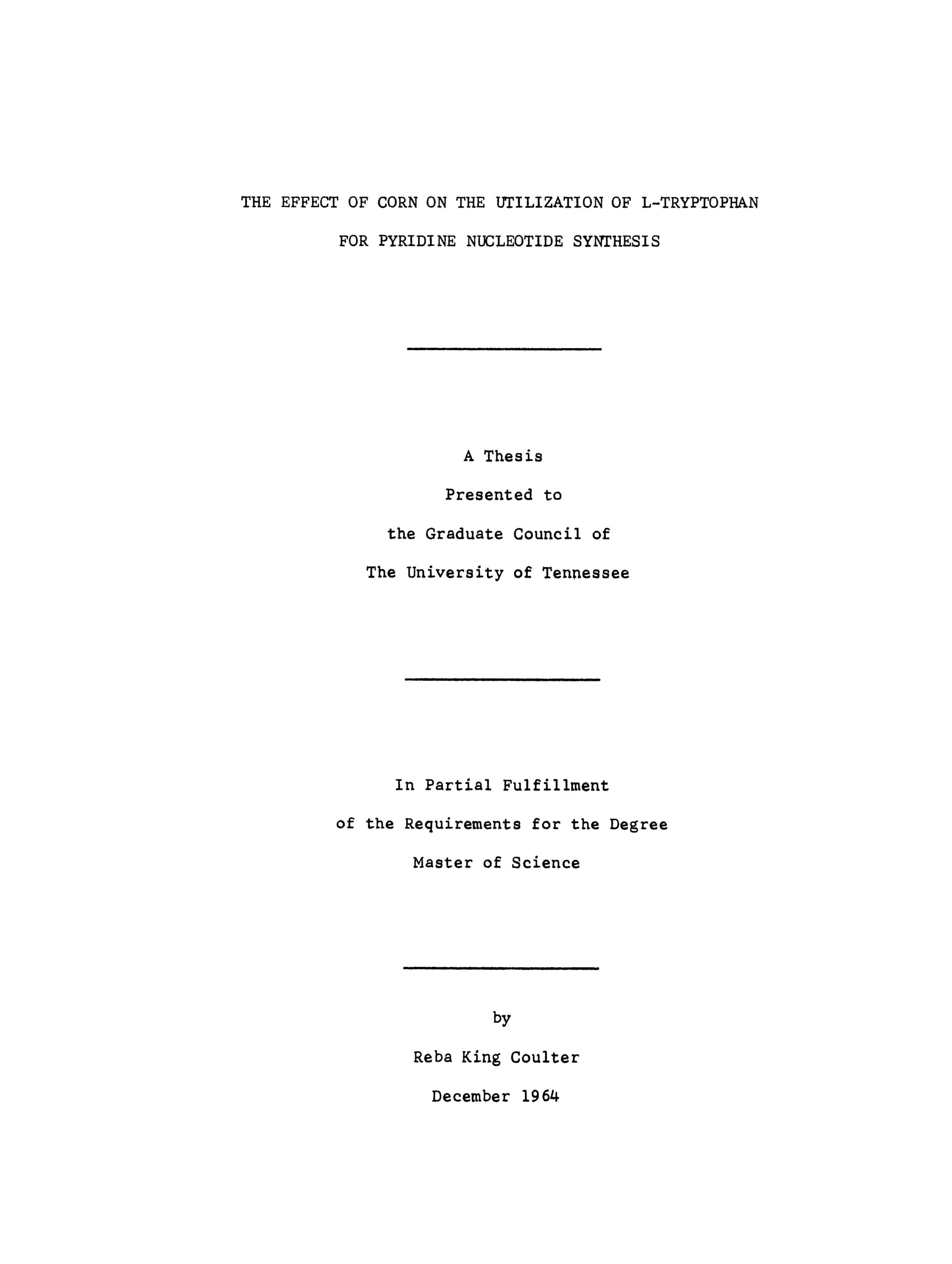 Title page from The effect of corn on the utilization of L-tryptophan for pyridin