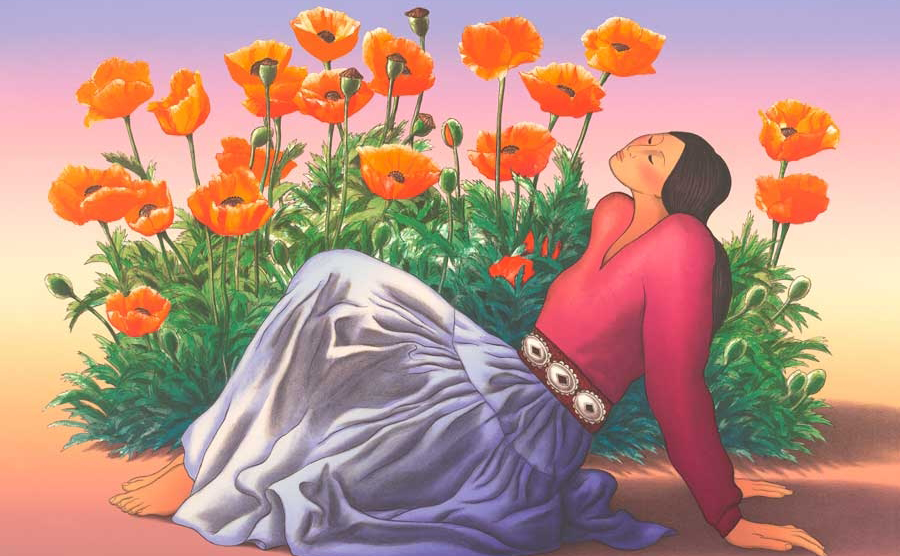 Painting of woman reclining with poppy flowers