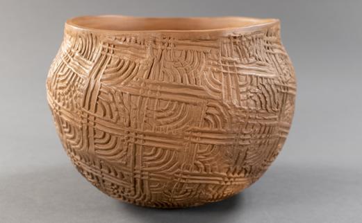 stamped pattern ceramic pot