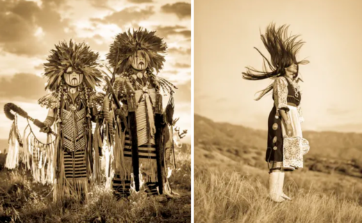 Two photographs of modern nativer americans in traditional regalia