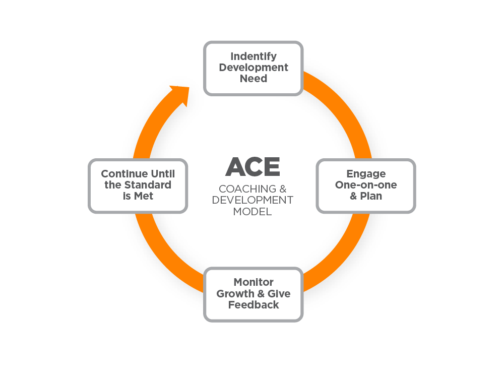 diagram describing the ace coaching and development model, identify development need, engage one-on-one and plan, monitor growth and give feedback, continue until the standard is met, and repeat.