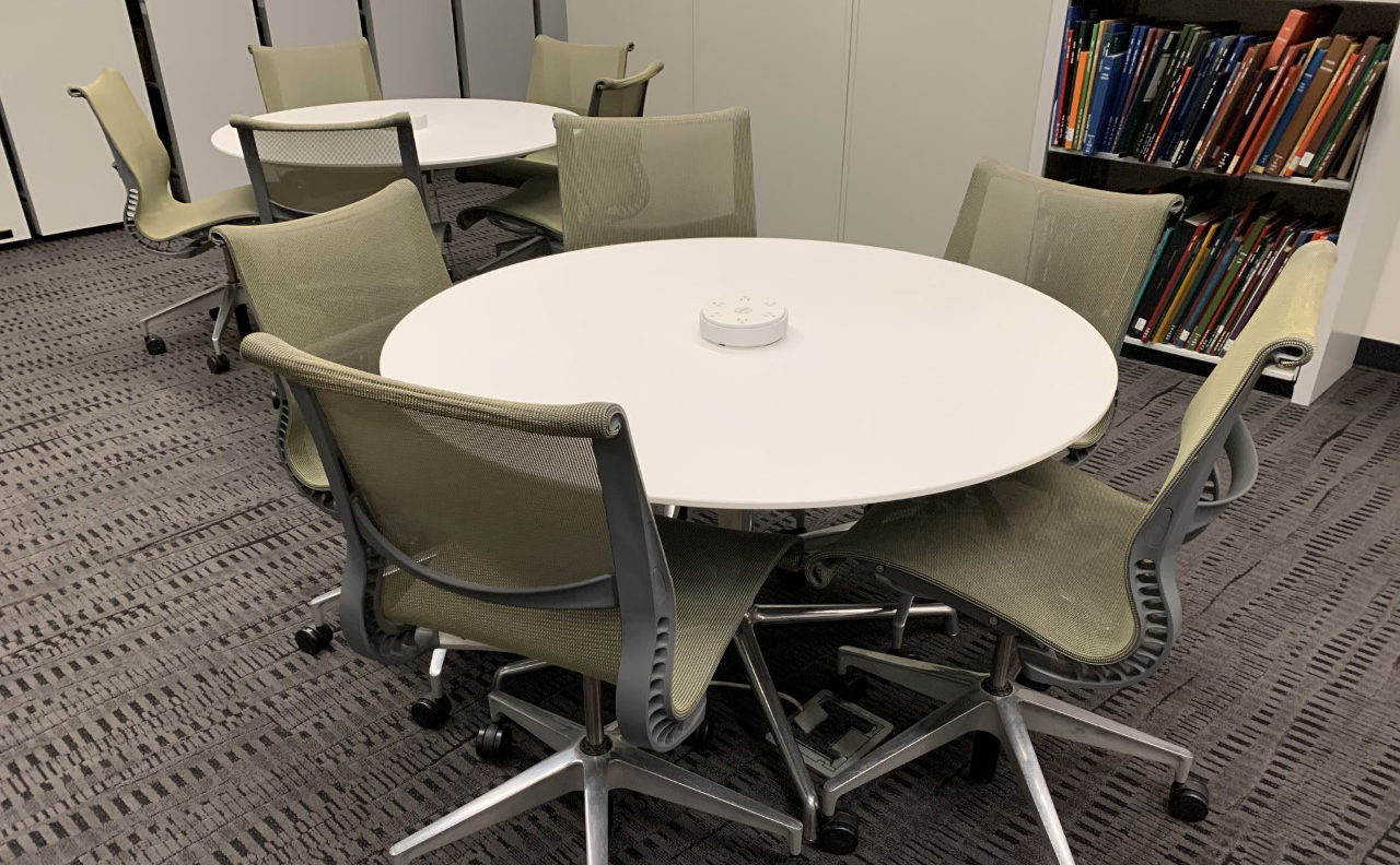 group study tables at devine library natalie haslam music center