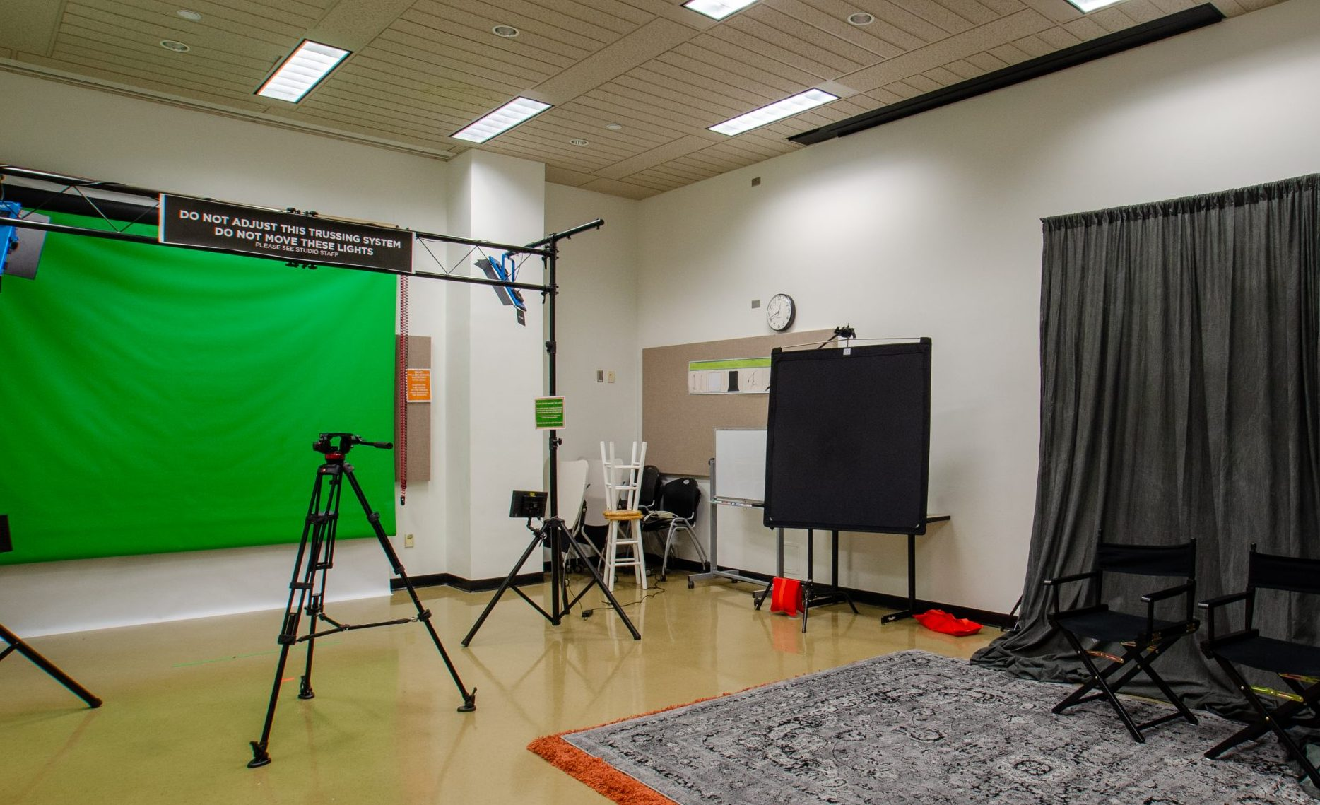 video production room in the studio at hodges library